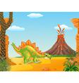 Cartoon funny stegosaurus posing vector image vector image
