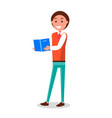 cheerful student with blue book poster vector image