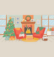 christmas living room interior new year home vector image vector image