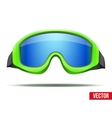 Classic green snowboard ski goggles with blue vector image vector image