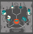 cleaning color concept isometric icons vector image vector image