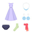 clothes and accessories cartoon icons in set vector image vector image