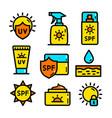 cosmetic sun color simple icon set vector image