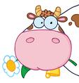 Cow Head Cartoon Character vector image vector image