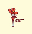 cowboy food logo vector image