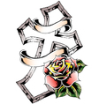 cross rose emblem vector image vector image