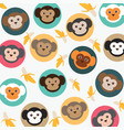 cute monkey with bananas vector image vector image