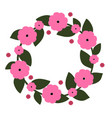 cute wreath with pink flowers vector image