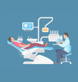 dentist and man in dentist chair vector image vector image