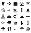 diving icons set simple style vector image vector image
