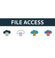 file access icon set four simple symbols in vector image vector image