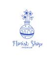 florist shop premium logo badge for floral vector image vector image