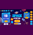 graphic user interface for space adventure game vector image vector image