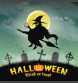 halloween silhouette flying witch in night grave vector image