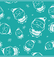 hand drawn seamless pattern with santa claus vector image vector image