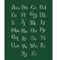 Hand drawn type font isolated on green board vector image