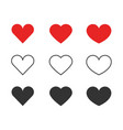 heart icons collection of different red and black vector image vector image
