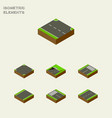 isometric way set of strip subway driveway and vector image vector image