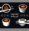 japanese dish icon set cold cooked rice with raw vector image vector image