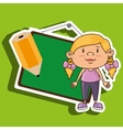 kid with chalkboard and pencil isolated icon vector image vector image