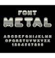 Metal font ABC of iron Steel alphabet Metallic vector image vector image