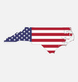 north carolina map on american flag vector image vector image