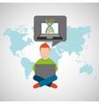 online training education-student laptop genetics vector image vector image