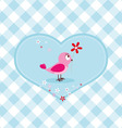 Pink bird with red flower vector image vector image