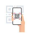 qr code mobile phone scan on screen vector image vector image