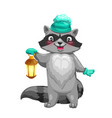 raccoon animal with knitted hat and lantern vector image