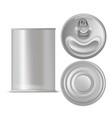 realistic detailed 3d tin can set vector image vector image