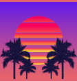 retrowave sun and palm trees vector image