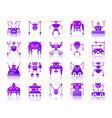 robot simple gradient icons set vector image