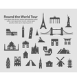 round world tour set icons vector image