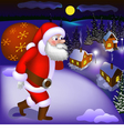 Santa Claus coming with gifts vector image vector image