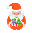 santa claus with a handful of gifts vector image vector image