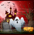 scary church background with ghost and pumpkins vector image vector image