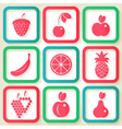 Set of 9 retro icons with fruits vector image vector image