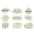 set vintage bakery badges labels logos vector image