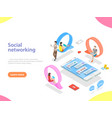 social media network flat isometric vector image vector image