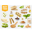 soy food products transparent set vector image vector image
