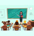 students in classroom teacher near blackboard vector image vector image