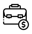 suitcase bag case and dollar coin icon vector image