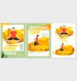 summer sport posters set - yoga and running vector image vector image