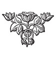 tailpiece have a rose in center two vector image vector image