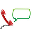 telephone receiver and speech bubble vector image vector image