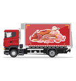 truck car full meat products vector image