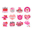 14 february valentine day love badges vector image