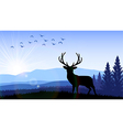 Silhouette of a deer standing vector image