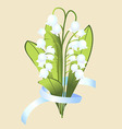 A bouquet of flowers of Lily with ribbon vector image vector image